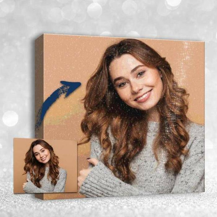 Cadeau personnalisé fille photo tableau diamant, peinture diamant art pour débutant pour déco murale