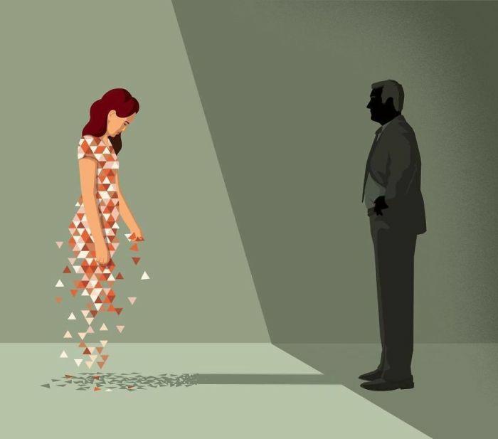 Femme digital image, ombre d'homme, réalisme social dessin triste facile a reproduire, comment apprendre à dessiner femme