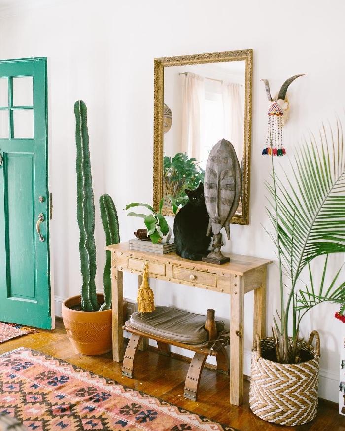 cactus palmier d intérieur miroir cadre vintage doré cornes décoratives suspension bohème quelle couleur pour les portes avec des murs blancs