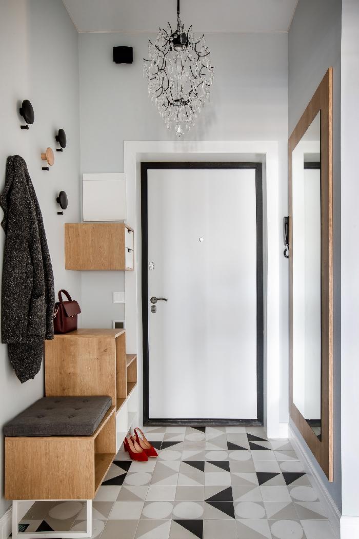 carreaux motifs triangles blanc et gris crochets vêtements quelle couleur pour un couloir sans fenetre design entrée étroite moderne