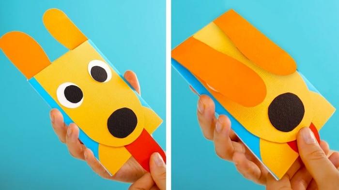 activité manuelle maternelle, idée de bricolage facile avec papier, modèles de forme de tête chien en papier scrapbooking