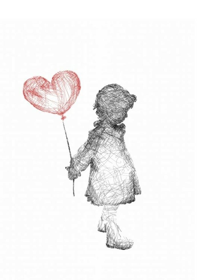 Enfant avec ballon rouge a forme de coeur dessin a dessiner facile a reproduire, dessin femme triste comment faire
