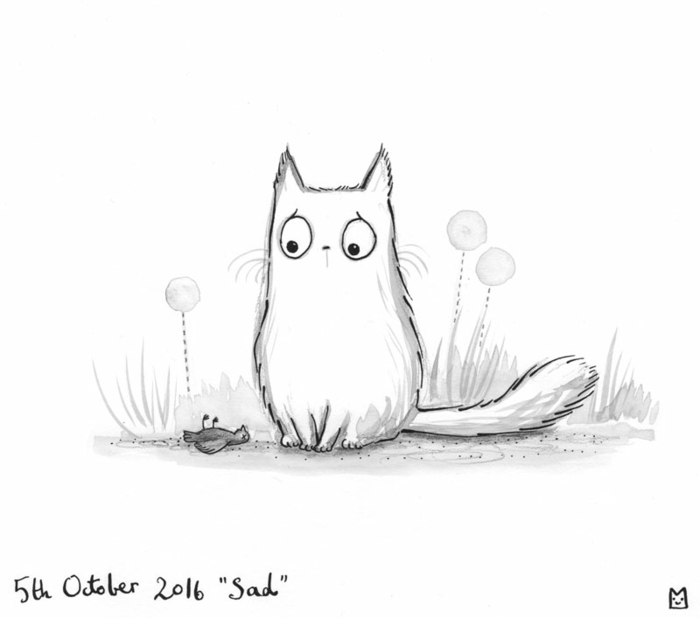 L'oiseau et le chat idee de dessin noir et blanc triste, dessin facile a reproduire simplicité