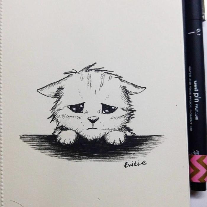 Chat triste dessin facile a faire pour debutant, apprendre le dessin facile tristesse image