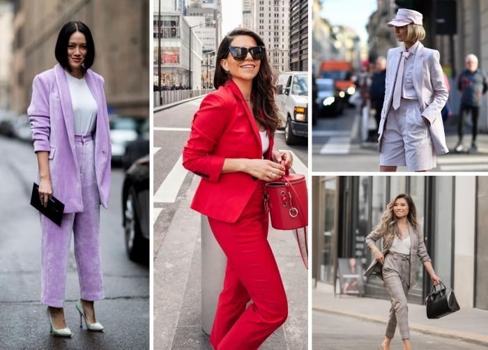 modèles d'ensemble tailleur femme de couleurs tendances, idée comment assortir les couleurs de ses vêtements dans une tenue classe
