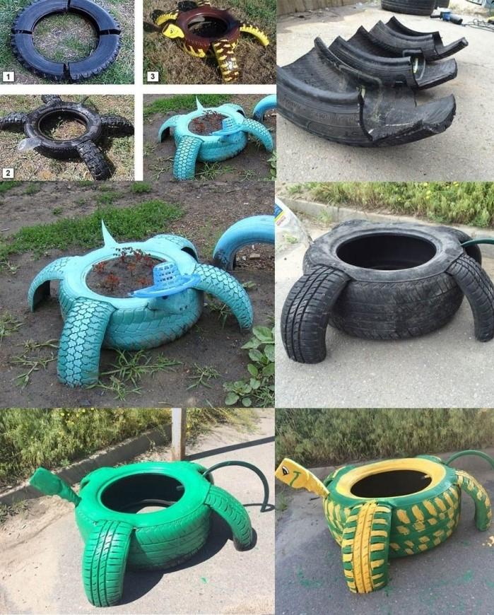 idée aménagement jardin facile, étapes à suivre pour faire une jardinière en forme de tortue avec pneus recyclés et peinture