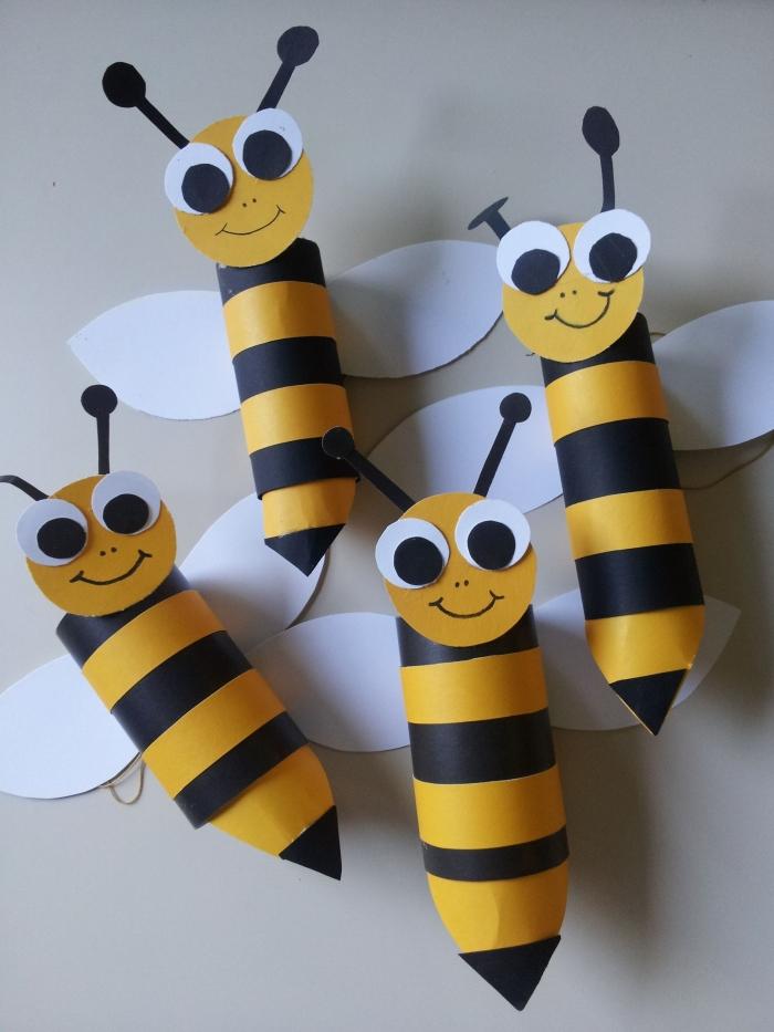 activité manuelle primaire, idée comment faire des abeilles en papier scprabooking, diy créations en papier facile pour petits