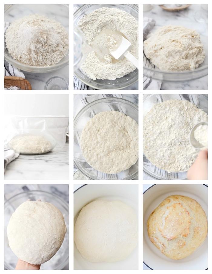étape par étape comment faire su pain maison de campagne avec de l eau, farine et de lalevure
