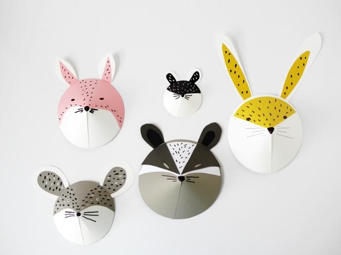 activité enfant 3 ans, modèles de masques en forme de têtes d'animaux faciles à réaliser avec papier cartonné et marqueurs colorés