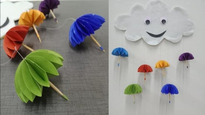 activité enfant 3 ans, diy créations originales en papier scrapbooking, nuage en papier blanc avec parasol en papier coloré