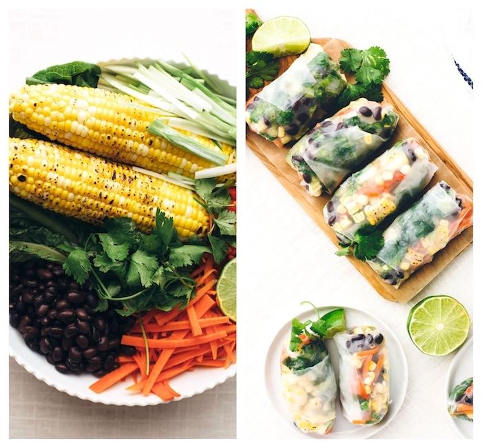 recette rouleaux de printemps à la mexicaine avec mais grilé, carottes, haricots noirs, persil et légumes verts
