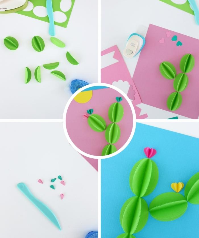 exemple comment créer une carte DIY avec cactus en papier coloré, idée d'activité enfant 3 ans facile, cadeau fête des mères facile