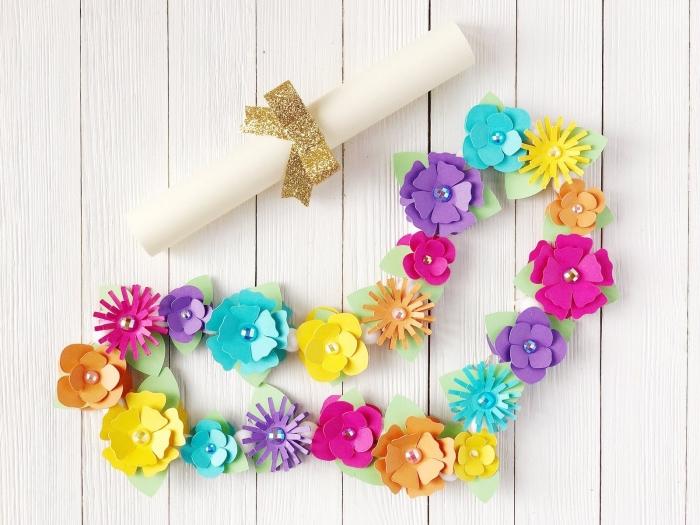 activité enfant 3 ans, idée de cadeau facile pour la fête des mères, bricolage avec papier pour tout petit, diy bracelet avec fleurs en papier