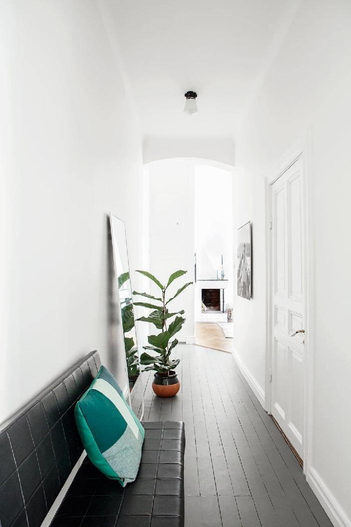 comment peindre un couloir aux multiples portes coussin décoratif nuances de vert déco couloir entrée étroite murs blancs plante verte