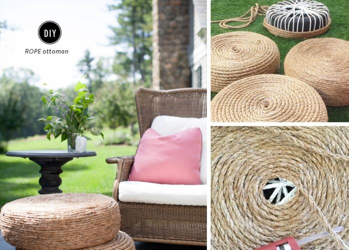 bricolage facile avec pneu recyclé et corde, tutoriel fabrication d'ottoman en pneu facile, idée de déco pneu pour jardin ou intérieur