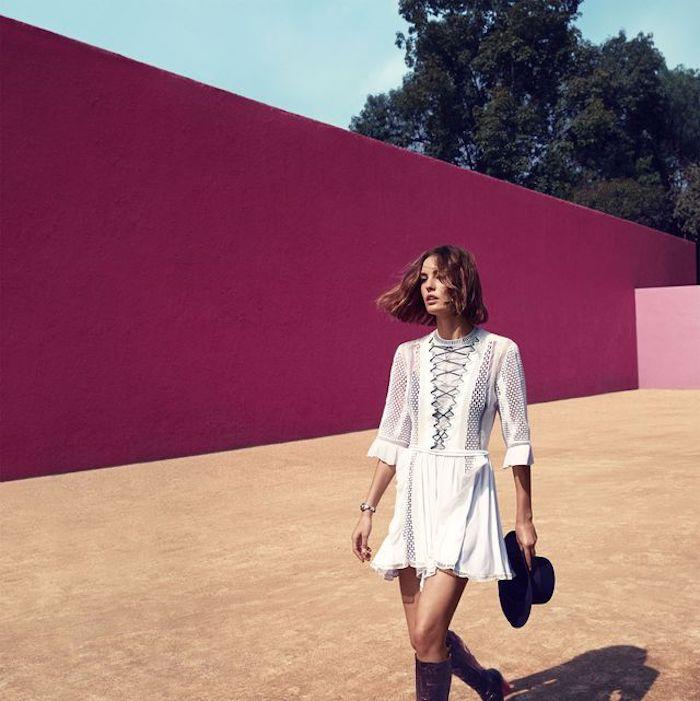 cool idée comment s habiller robe blanche courte manche longue robe longue fluide ete tenue d été pour femme bien habillée avec bottines