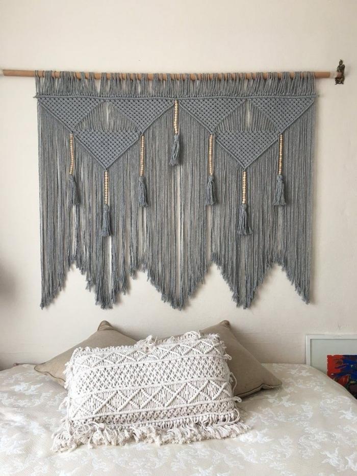corde cotton gris clair tassels diy suspension murale noeud macramé idee tete de lit à faire style boho chic chambre à coucher