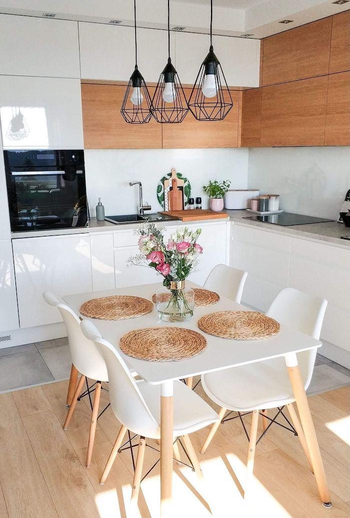 Scandinave style cuisine blanc et bois couleur mur cuisine, quelle couleur pour une cuisine rustique chic