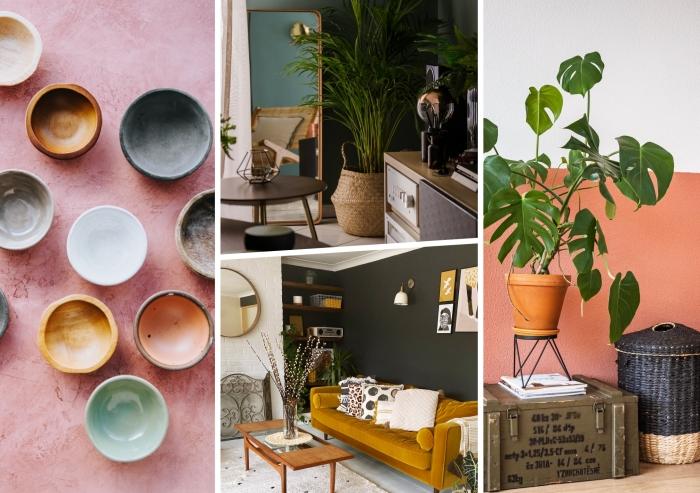 couleurs tendance été décor intérieur canapé jaune moutarde peinture terracotta panier tressé coussins décoratifs palmier d intérieur