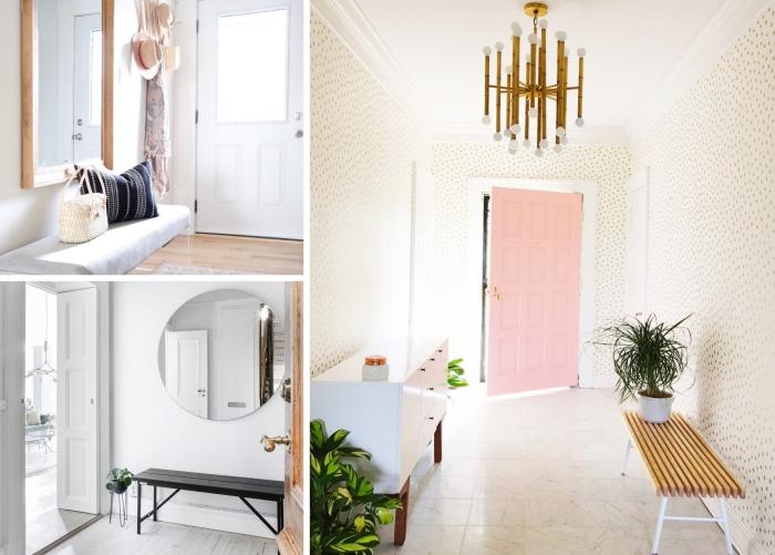 couloir murs couloir peinture blanche banquette bois noir miroir rectangulaire bois coussin décoratif noir et blanc luminaire en blanc et or plantes vertes d intérieur