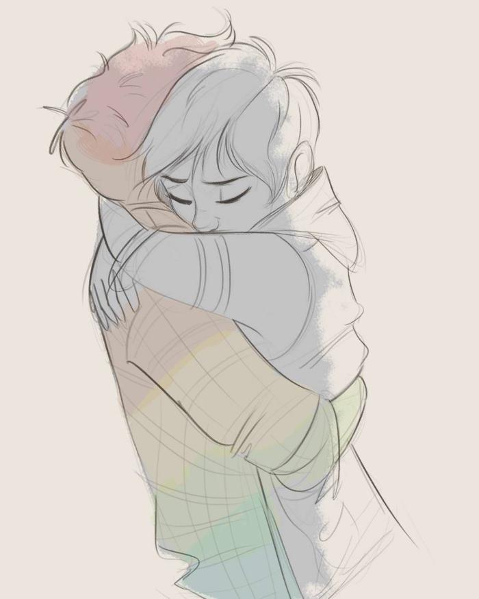 Couple embrasse dessin triste, dessin noir et blanc triste, expression art de sentiments