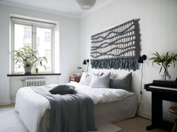 couverture de lit gris plante chambre tete de lit diy en corde gris et beige suspension diy style bohème chic déco chambre à coucher blanc et gris