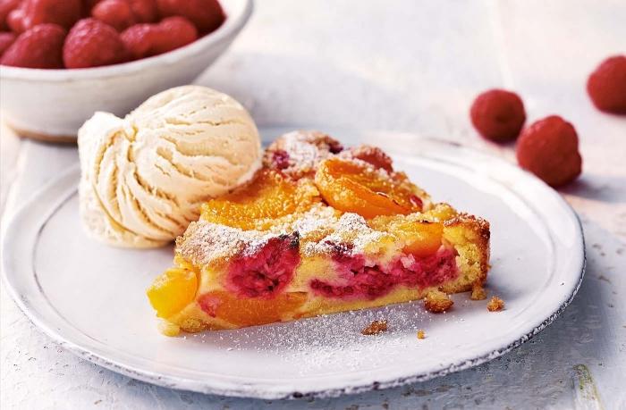 crème glacée vanille dessert d été facile pâte sucrée beurre fruits fraîses framboises tranches oranges abricots tarte aux fruits été