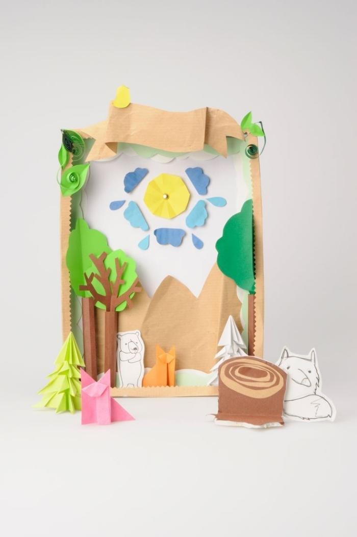idée d'activité manuelle facile avec du papier, idée comment faire une décoration originale avec formes en papier coloré
