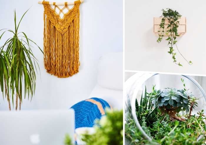 déco intérieure été fauteuil blanc suspension macramé couleur jaune moutarde plantes vertes diy jardinière caissette bois terrarium fait maison