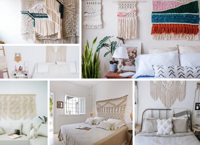 décoration de chambre style bohème avec suspension murale diy en corde macramé noeud cotton corde design intérieur meubles bois