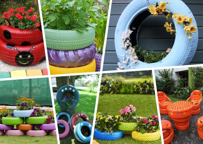 projets créatifs avec récupération vieux pneus, modèles de jardinières au sol faciles à réaliser soi-même avec vieux pneus