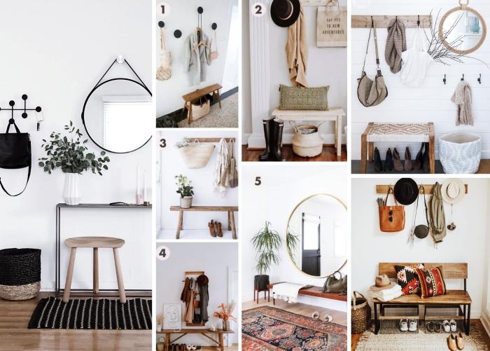 décoration entrée couloir parquet bois clait tapis noir tabouret bois miroir rond métal vase origami banquette bois style boho chic