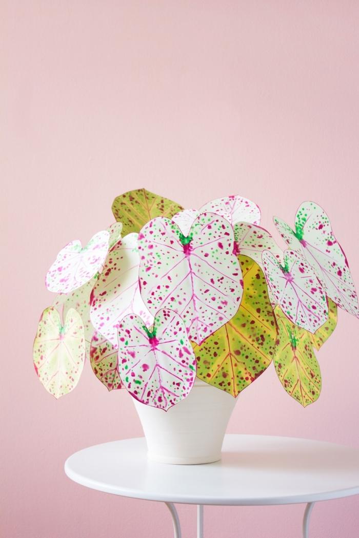 comment faire une plante d'intérieur en papier original, idée d'activité manuelle adulte facile et rapide, diy plante en papier