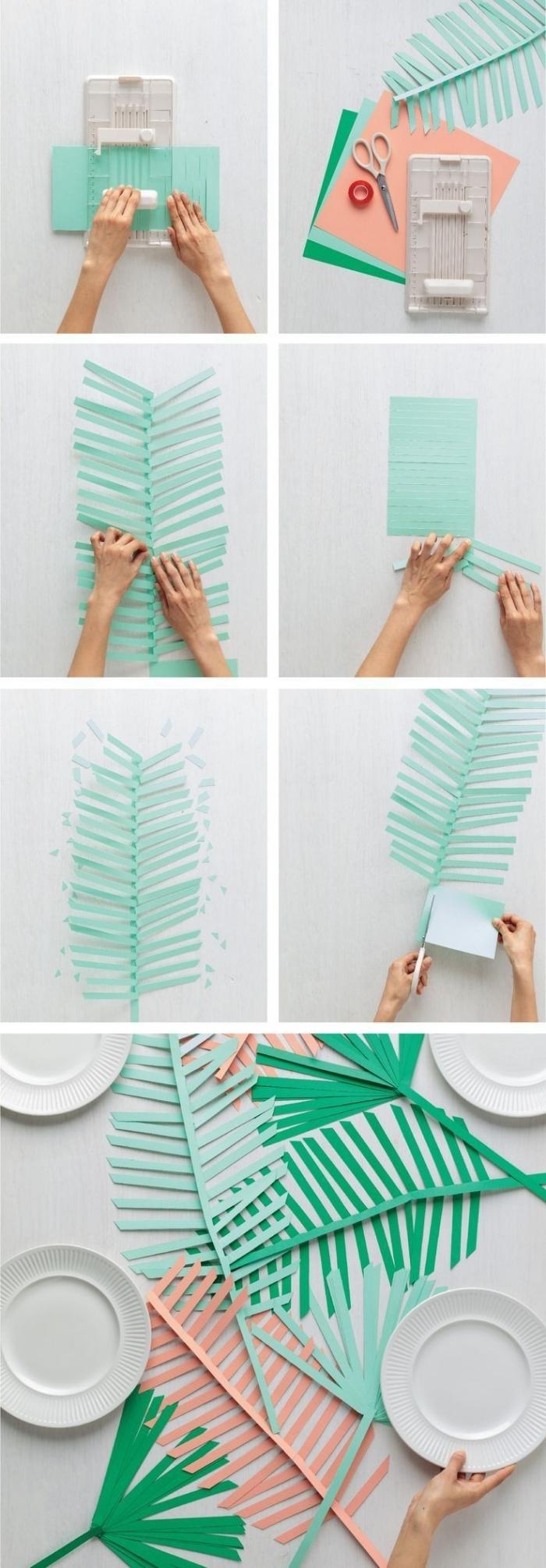 activité manuelle printemps, tutoriel comment faire une décoration de table en forme de feuilles en papier coloré vert