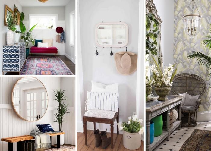 design couloir d entrée chaise paon rotin mur de cadre vintage or miroir rond banquette bois et métal chaise bois foncé lustre bougies tapis carreaux blanc et noir