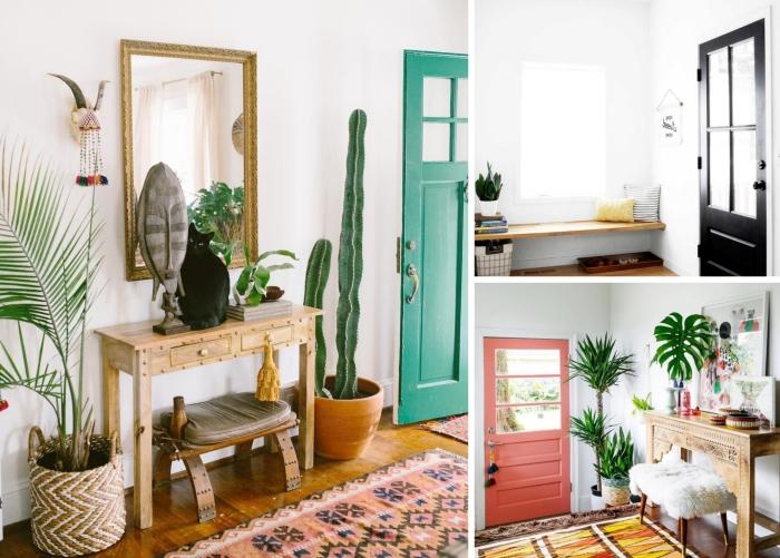 design intérieur aménagement petit couloir cache pot tressé cactus palmier d intérieur meubles bois miroir vintage cadre or peinture porte d entrée corail