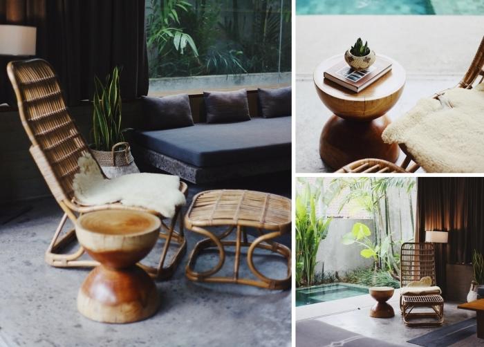 design intérieur décoration intérieur avec meubles en rotin accessoires paille jute bambou déco estivale tendance bohème objets style tropical