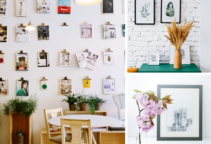 idées comment décorer ses murs du salon ou de la cuisine à l'aide de posters ou pages de magazines accrochés au mur