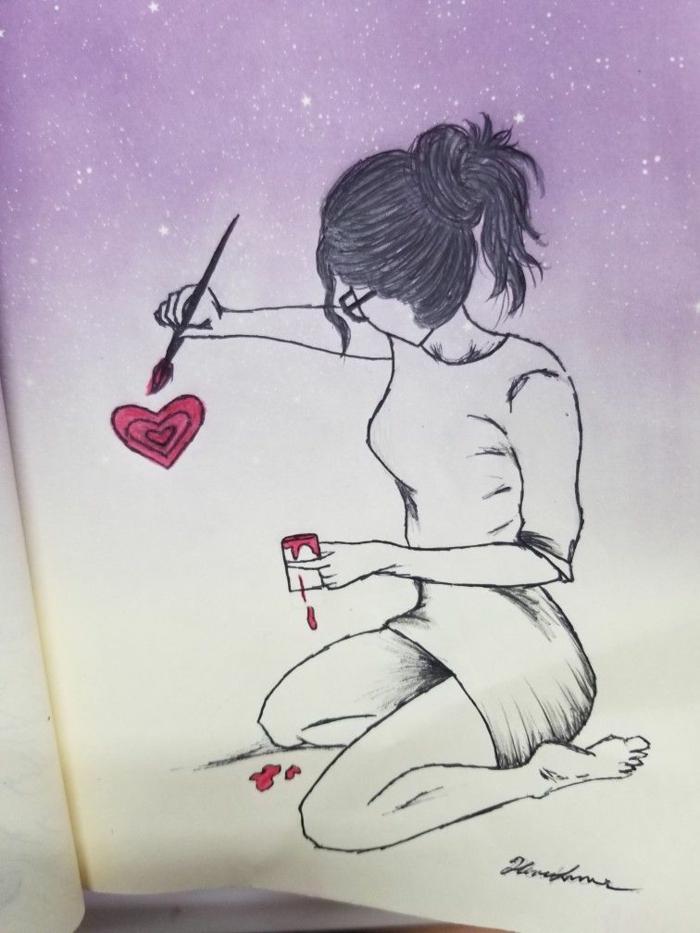 Fille qui dessine un coeur dessin facile fille, dessin triste facile a reproduire de l'éplorement
