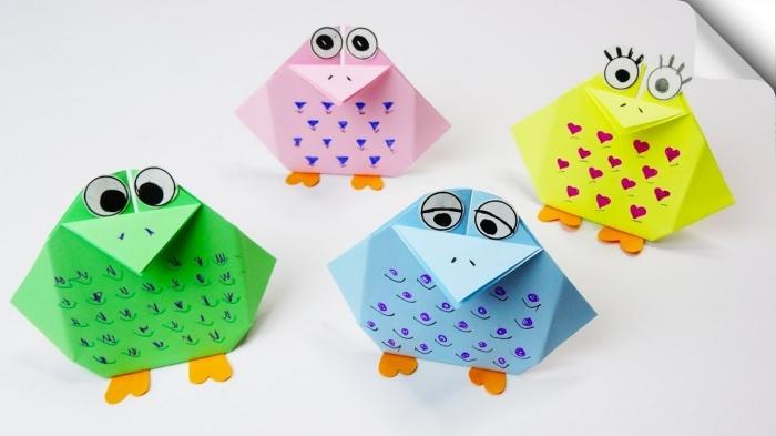 activité manuelle maternelle, comment faire des figurines animalières faciles avec les enfants, modèles de formes animaux en papier