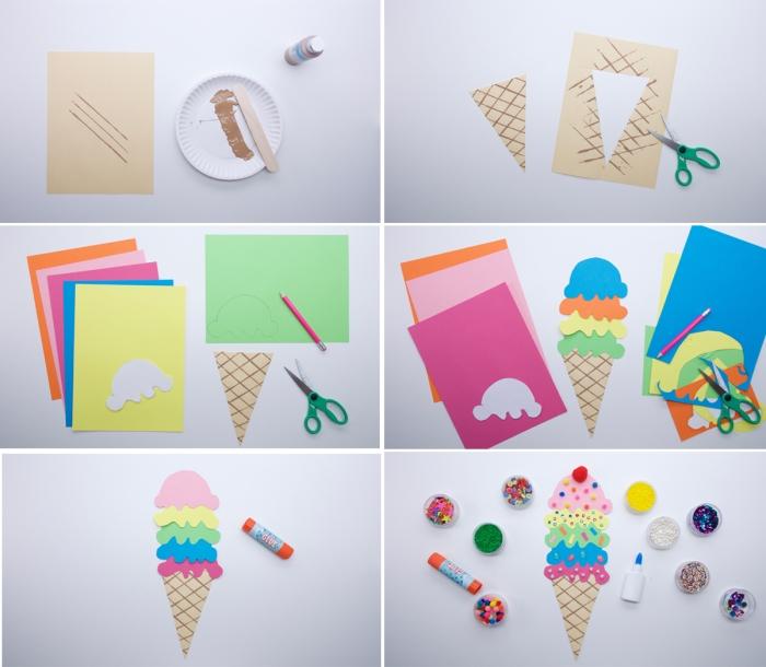 tutoriel facile pour faire une forme de crème glacée en papier cartonné de différentes couleurs, idée d'activité manuelle maternelle