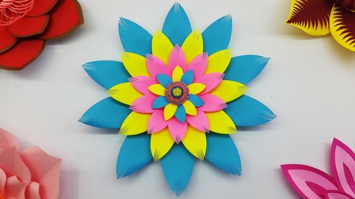 activité manuelle ado, modèle de fleur mandala aux pétales en papier coloré, idée objet de décoration originale à faire soi-même
