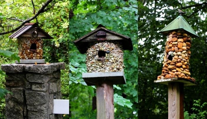 comment décorer une mangeoire oiseaux sur pied avec cailloux ou pierre, modèles de jolies maison en bois pour oiseaux