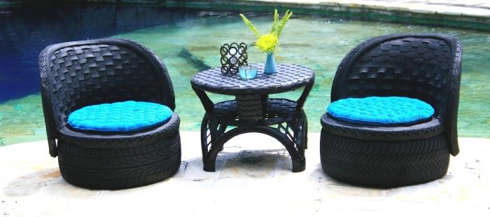 décoration jardin extérieur, diy salon de jardin avec meubles en pneus recyclés, modèles de table et chaises de jardin DIY
