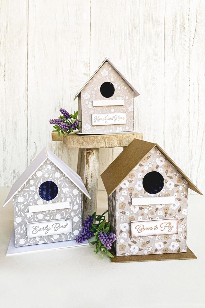 fabriquer une mangeoire pour oiseaux décorative avec carton et papier à motifs floraux, maisons en carton pour oiseaux