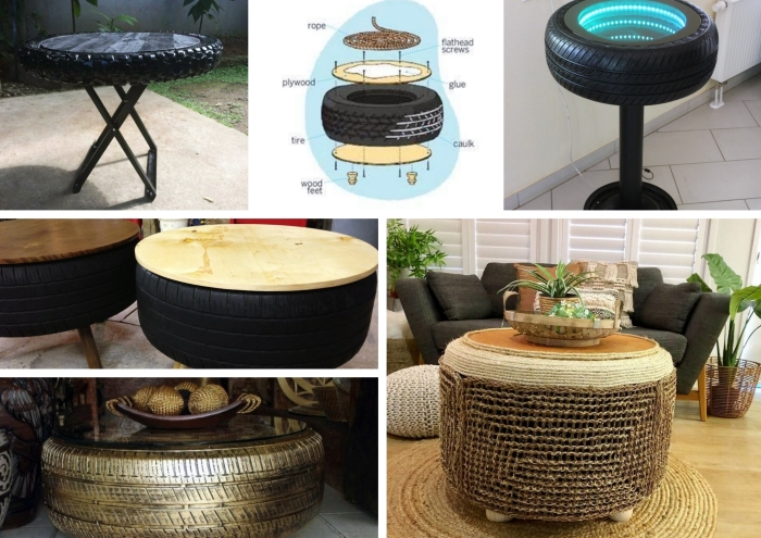 décoration jardin extérieur facile avec matériaux de récupération, modèles de tables basses en pneus recyclés pour jardin ou salon