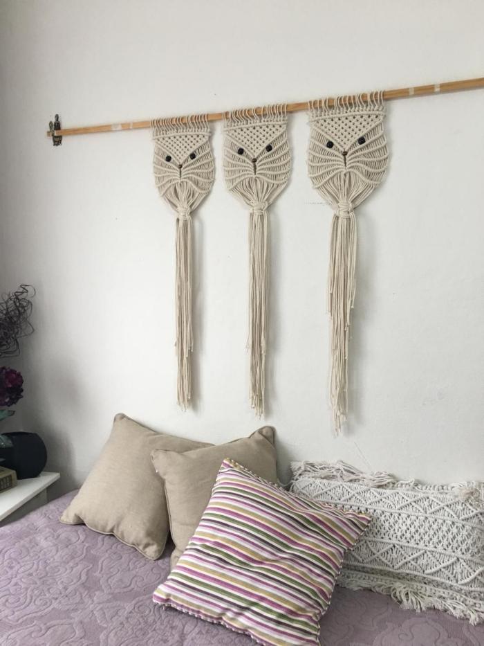 diy tete de lit motif visage chat moustaches bâton bois corde macramé technique suspension lit coussin macramé lit cocooning