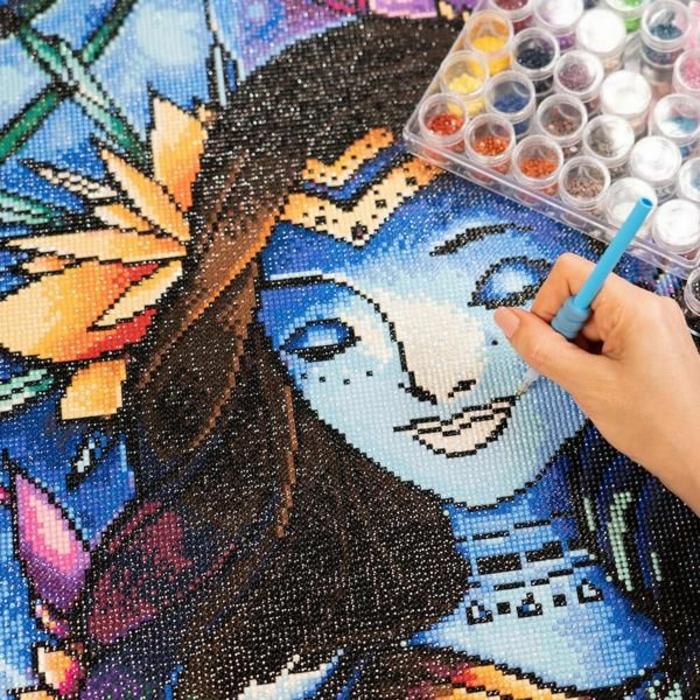 Elf bleu avec cheveux brunes, avatar caractère dessin à faire soi meme, comment faire un tableau diamant, creation diamant broderie