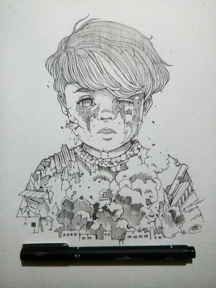 Garçon dessin triste facile, apprendre à dessiner la tristesse sans larmes cheveux détail
