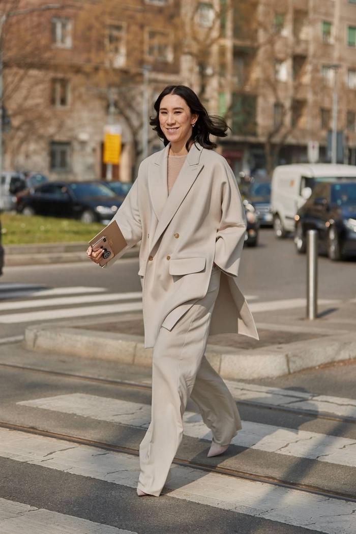 tenue femme élégante monochrome, idée de tailleur pantalon femme à design loose pour une tenue femme stylée